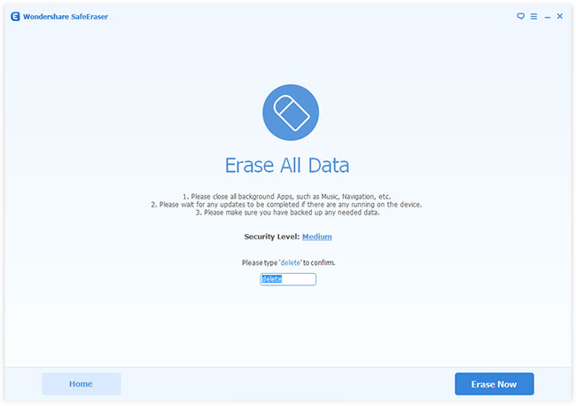 Erase all data